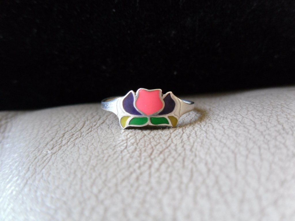 Vintage Silver Multicolored Flower Ring (size 6)
