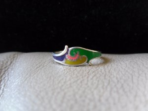 Vintage Silver Multicolored Cloud Ring (size 6)