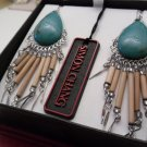 Simon Chang Turquoise and Wood Bead Earrings