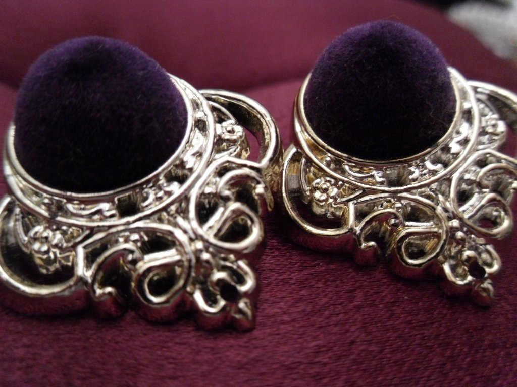 Vintage Velvet and Ornate Silver Earrings