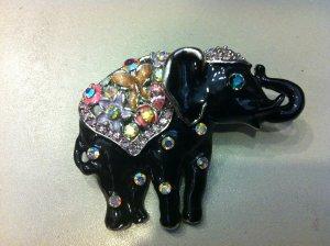 Elephant Crystal Brooch Costume Jewelry