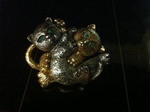 Two Kittens Brooch Costume Jewelry