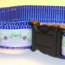 M-Blue nylon collar-Lavender & Mint with purple flowers