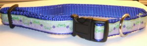 M-Blue nylon collar-Lavender & Mint with purple flowers