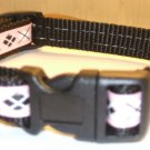 S: Black nylon collar- Pink & Black Argyle Geometric