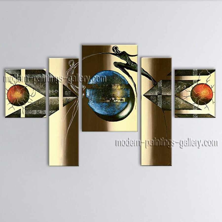 Hand-painted Pentaptych Modern Abstract Painting Wall Art Artwork Pictures