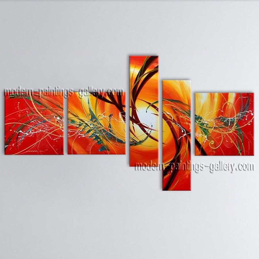Hand-painted 5 Pieces Modern Abstract Painting Wall Art Artwork Images