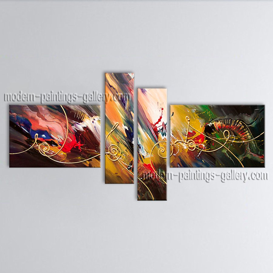 Hand-painted Tetraptych Modern Abstract Painting Wall Art Interior Design