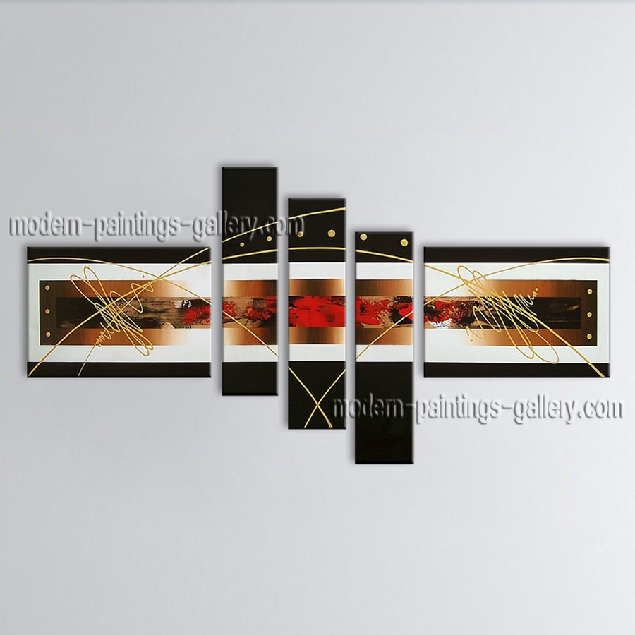 Hand-painted Pentaptych Modern Abstract Painting Wall Art Interior Design
