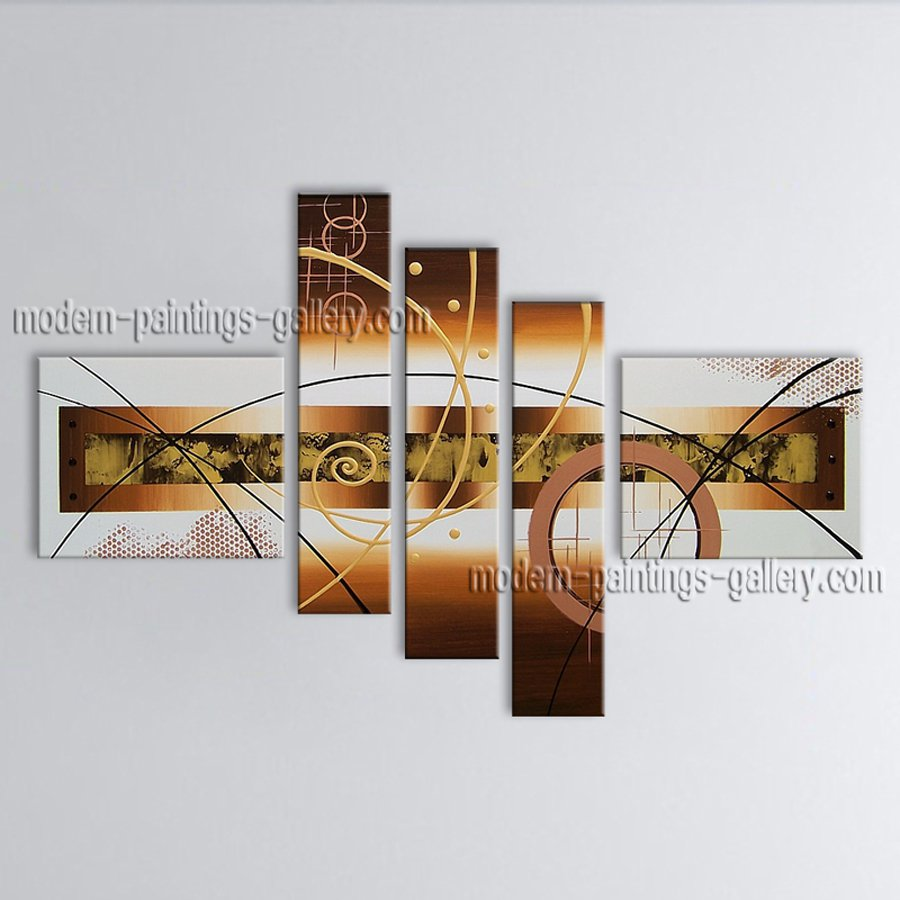 Hand Painted Pentaptych Modern Abstract Painting Wall Art Artwork Images