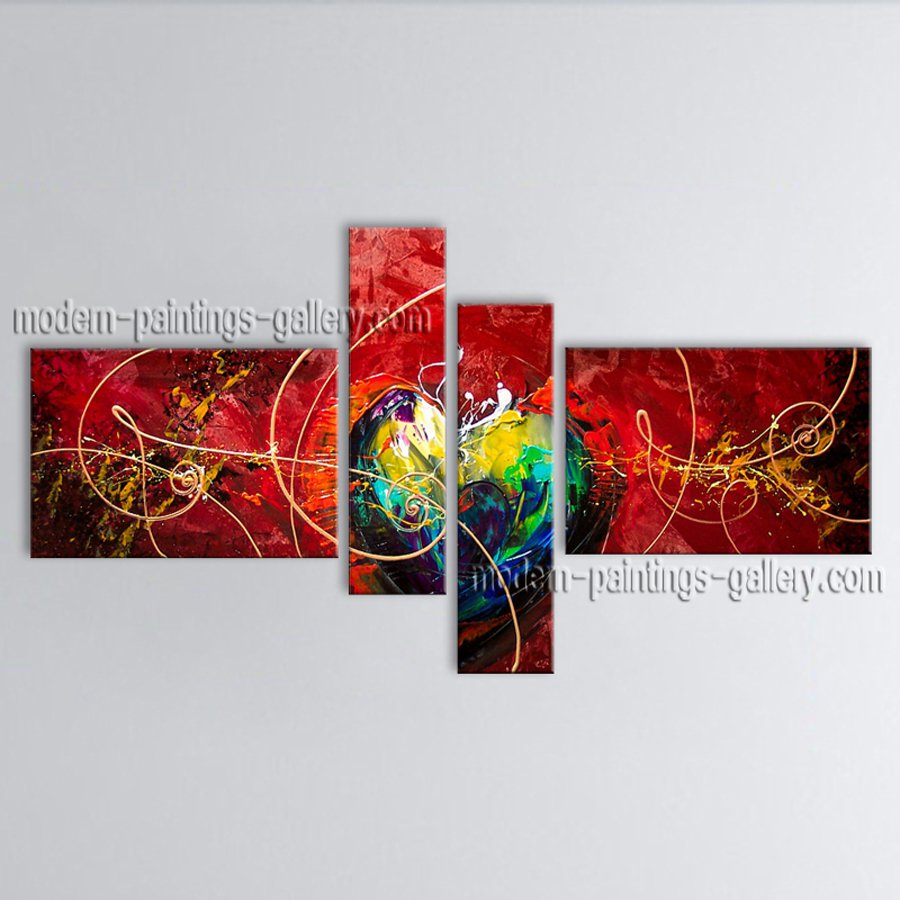 Hand Painted Tetraptych Modern Abstract Painting Wall Art Ready To Hang