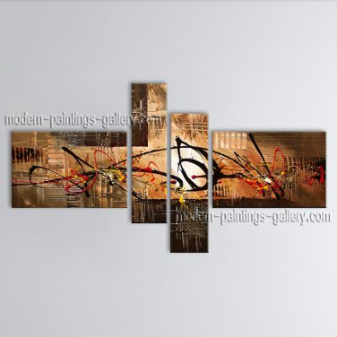 Hand-painted 4 Pieces Modern Abstract Painting Wall Art Oil On Canvas