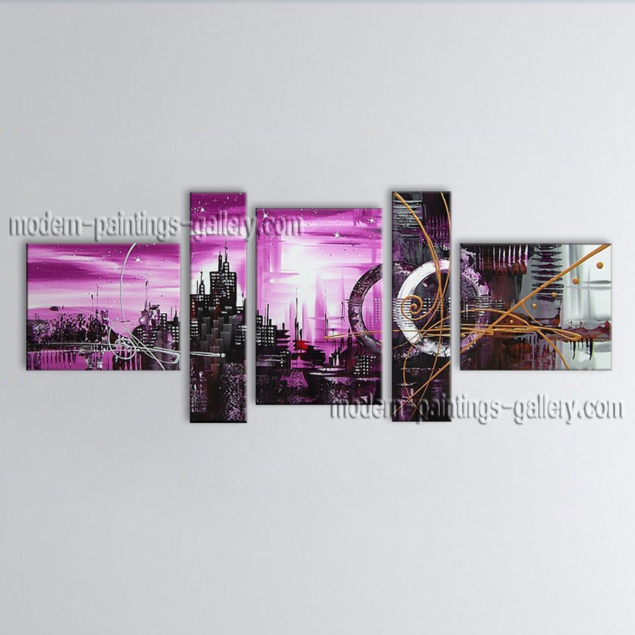 Hand Painted 5 Pieces Modern Abstract Painting Wall Art Decoration Ideas