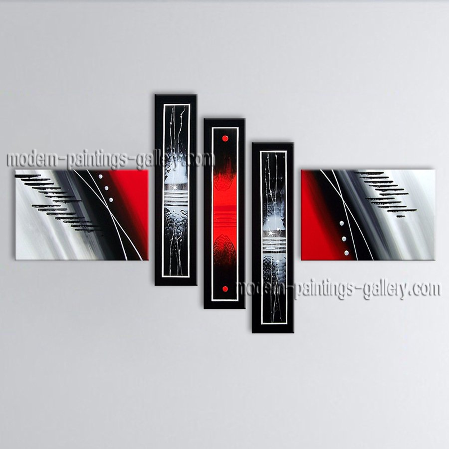 Hand Painted 5 Pieces Modern Abstract Painting Wall Art Interior Design
