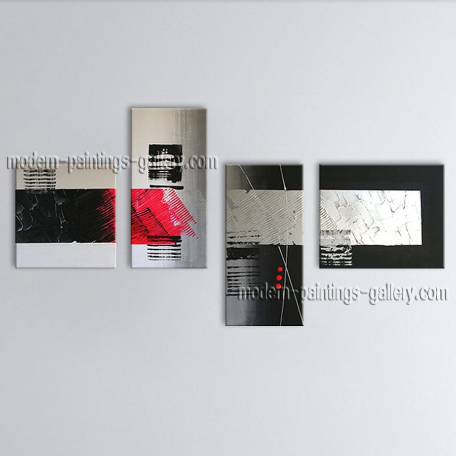 Handmade Tetraptych Modern Abstract Painting Wall Art On Canvas Artworks