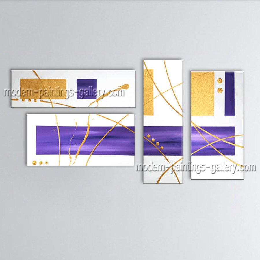 Hand Painted Tetraptych Modern Abstract Painting Wall Art Inner Stretched