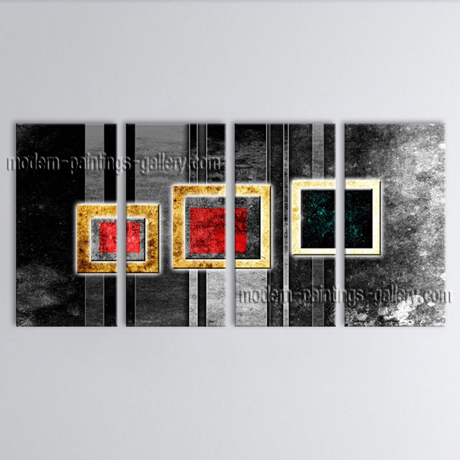 Hand-painted 4 Pieces Modern Abstract Painting Wall Art On Canvas Artworks