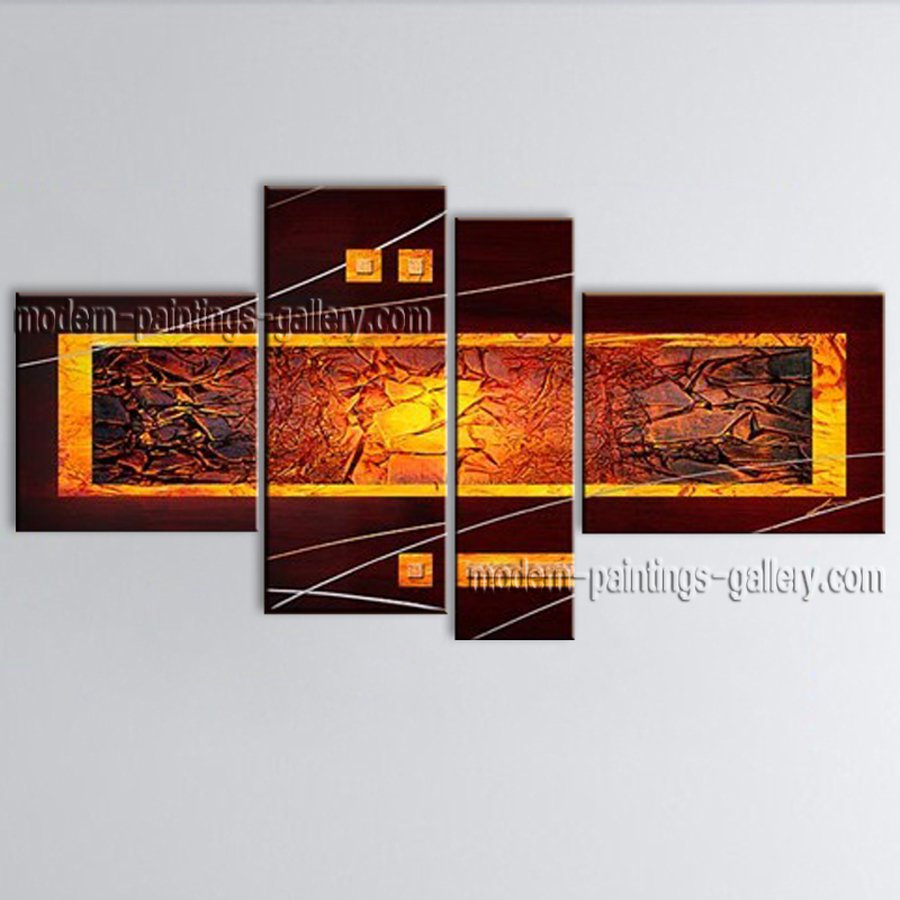 Hand-painted 4 Pieces Modern Abstract Painting Wall Art Interior Design