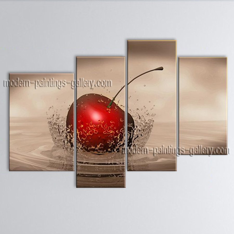 Handmade 4 Pieces Modern Abstract Painting Wall Art Apple Oil Paintings