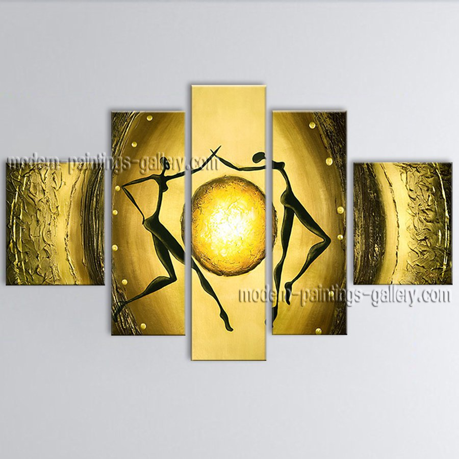 Pentaptych Modern Abstract Painting Wall Art Figure Decoration Ideas