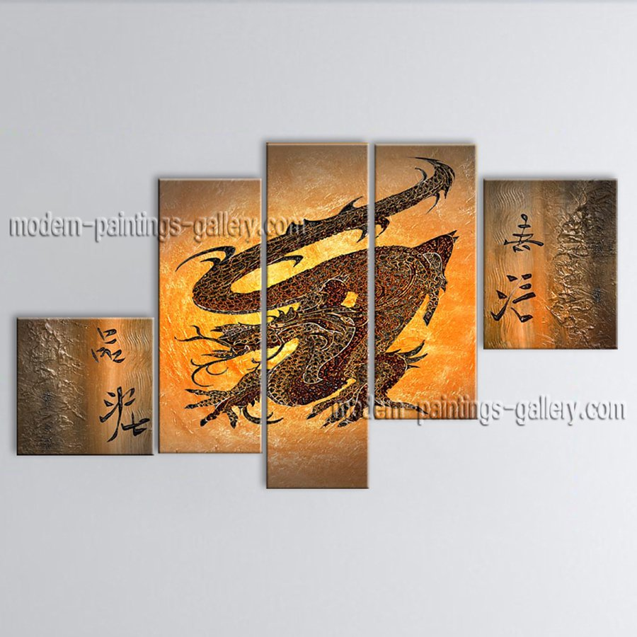 Hand-painted 5 Pieces Modern Abstract Painting Wall Art Contemporary Decor