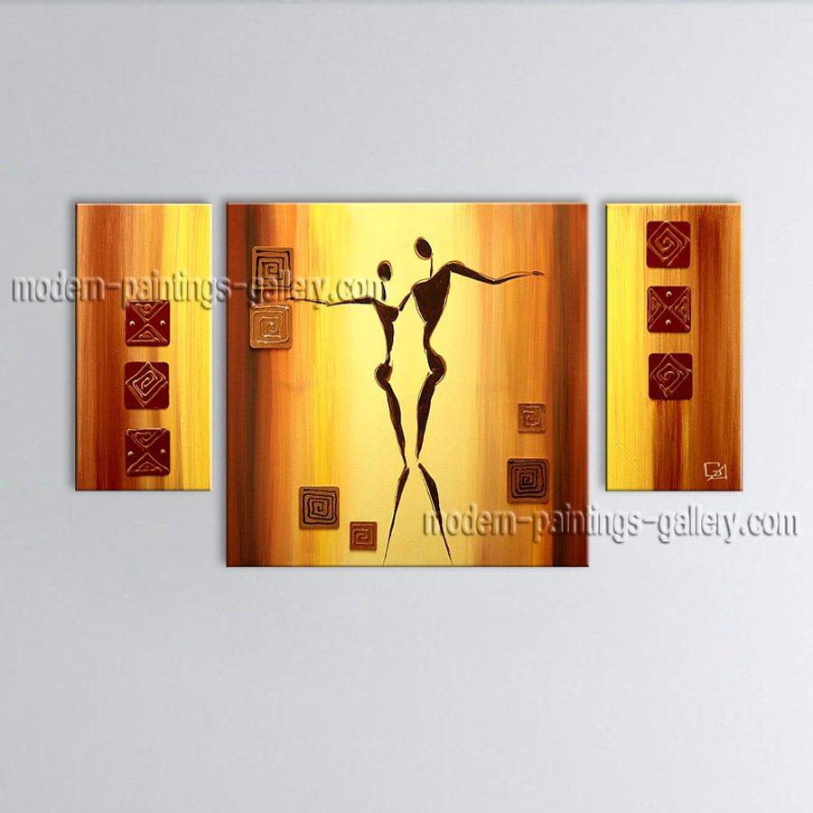 Hand-painted Elegant Modern Abstract Painting Wall Art Figure Inner Framed
