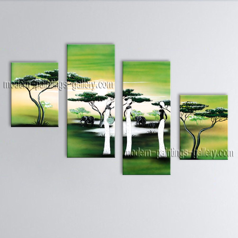 4 Pieces Modern Abstract Painting Wall Art Figure Contemporary Decor