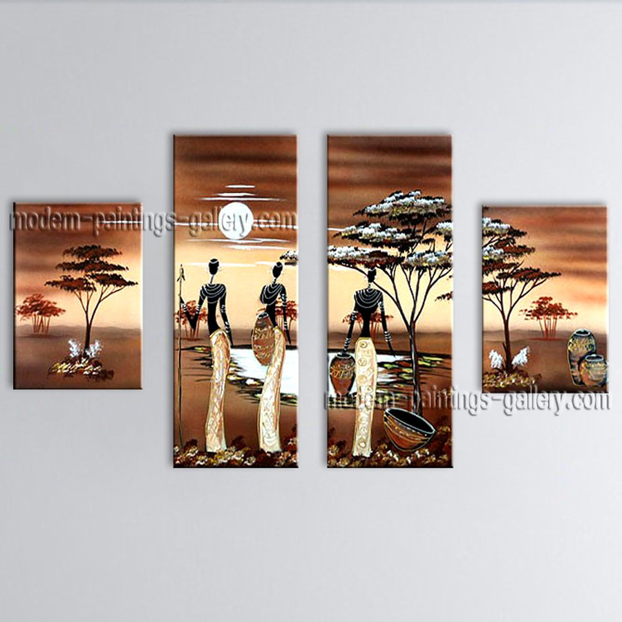 Tetraptych Modern Abstract Painting Wall Art Figure On Canvas Artworks