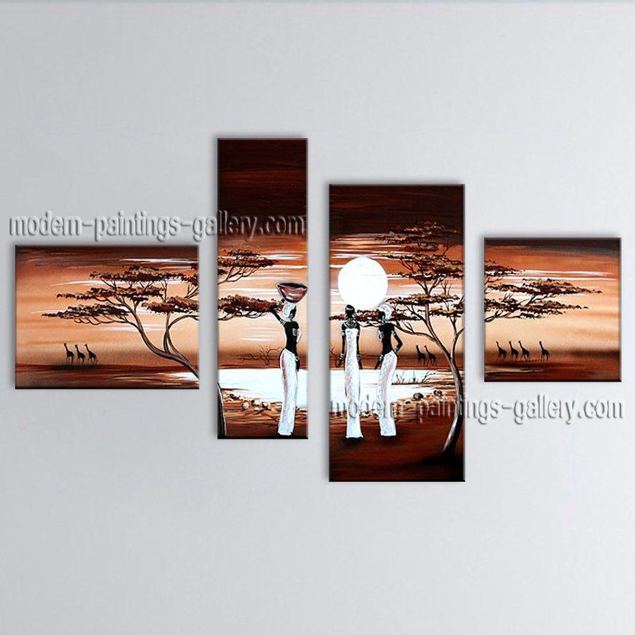 Handmade 4 Pieces Modern Abstract Painting Wall Art Figure Artist Artworks