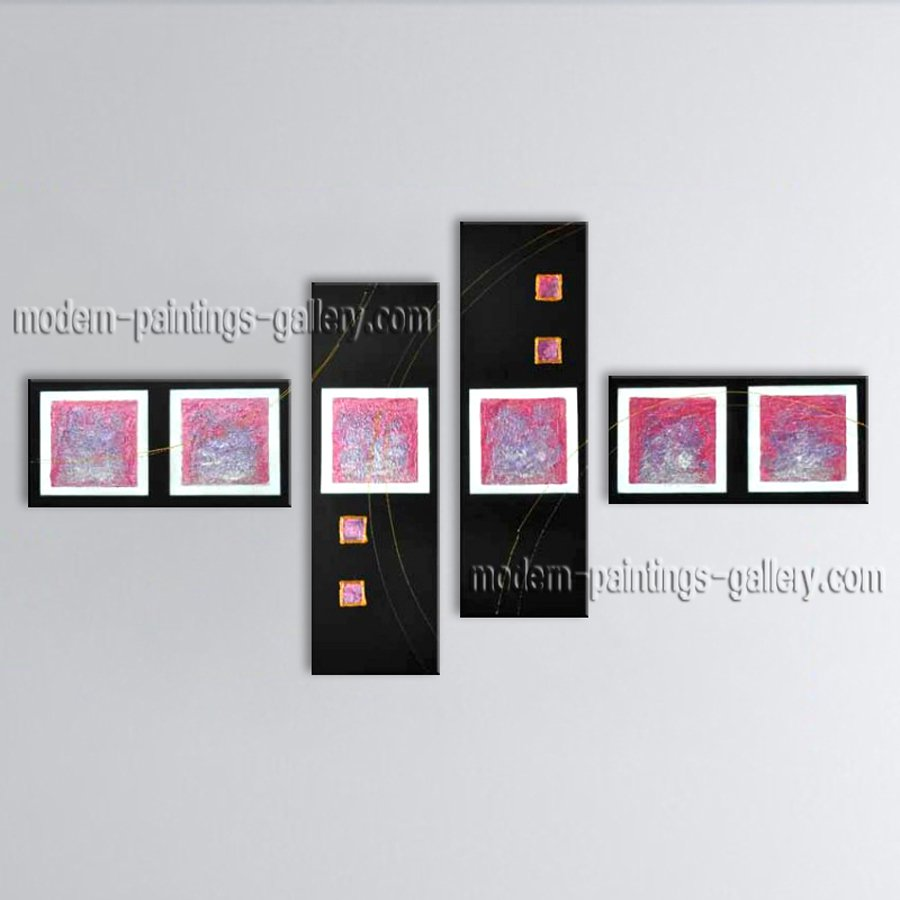 Hand Painted Tetraptych Modern Abstract Painting Wall Art Oil On Canvas
