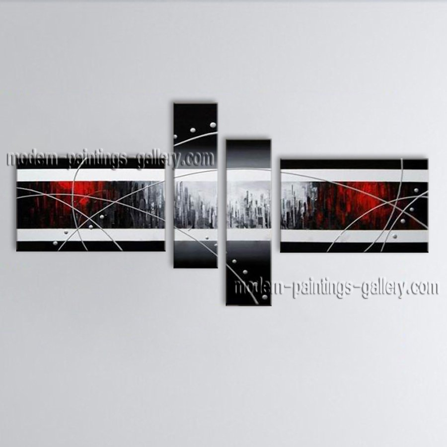 Hand-painted 4 Pieces Modern Abstract Painting Wall Art Artist Artworks