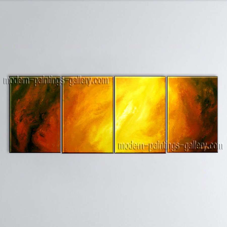 Hand-painted 4 Pieces Modern Abstract Painting Wall Art Contemporary Decor