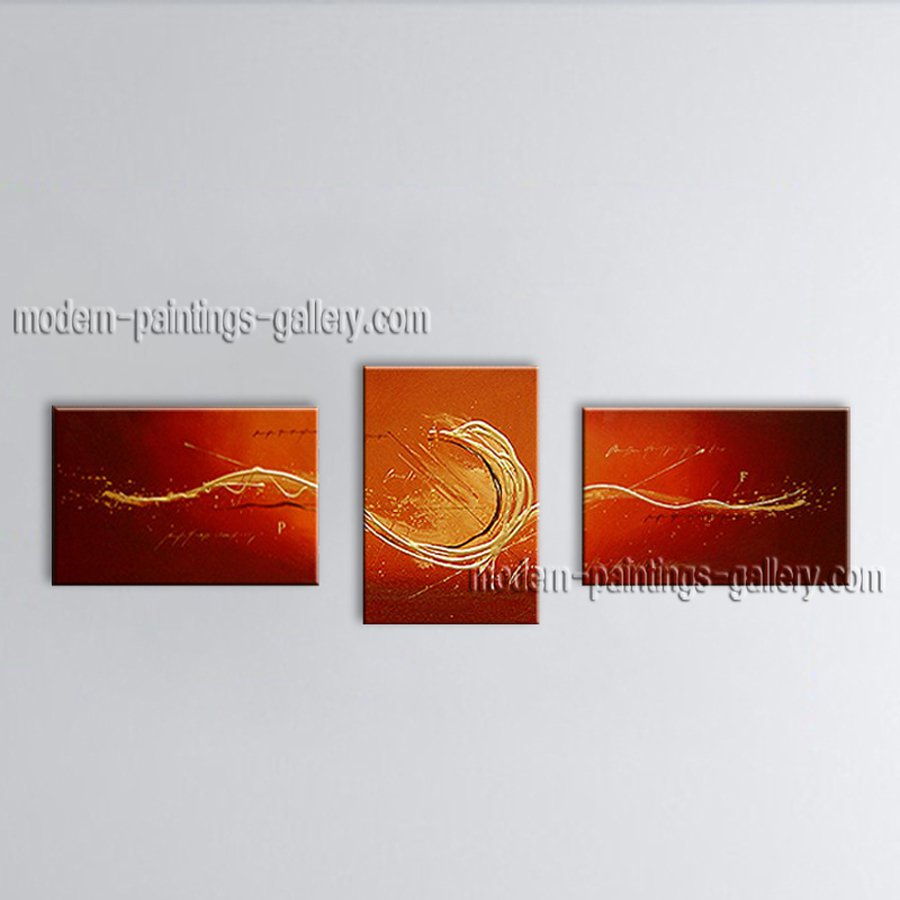 Hand Painted Triptych Modern Abstract Painting Wall Art Oil On Canvas