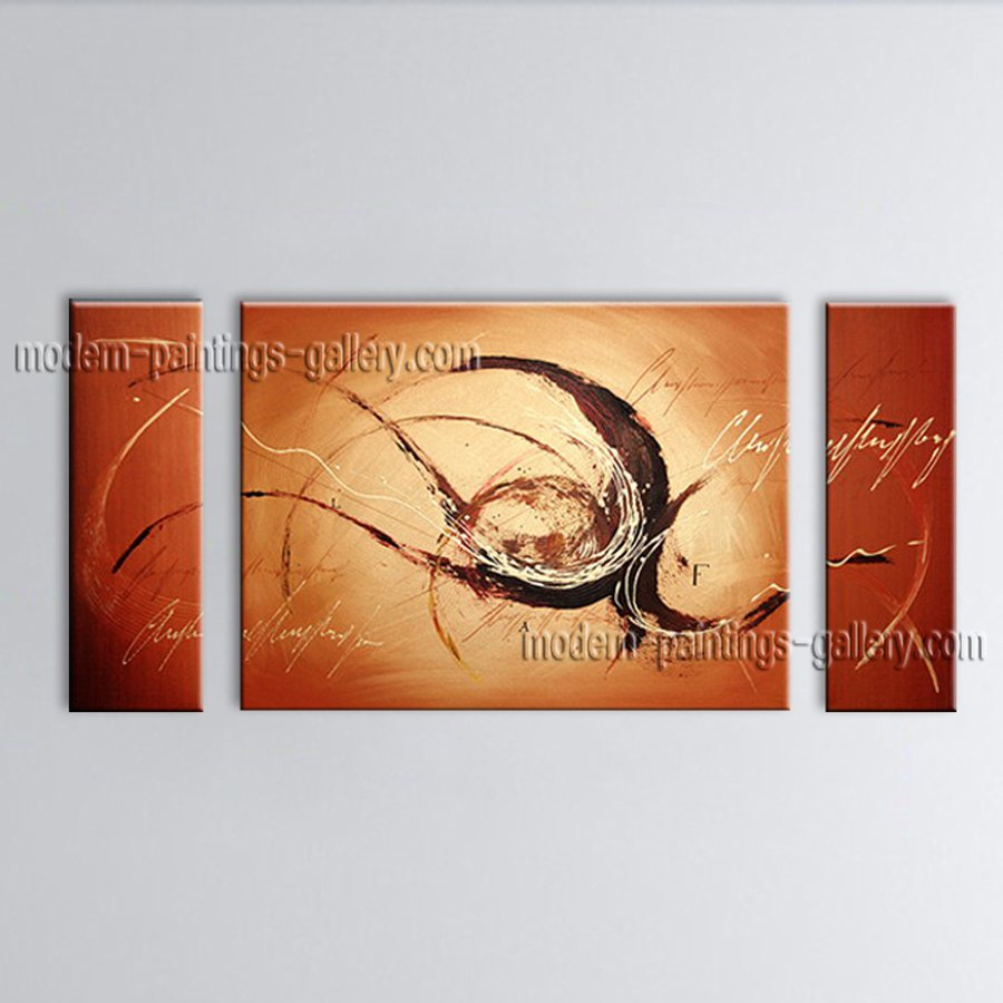 Hand Painted Triptych Modern Abstract Painting Wall Art Interior Design