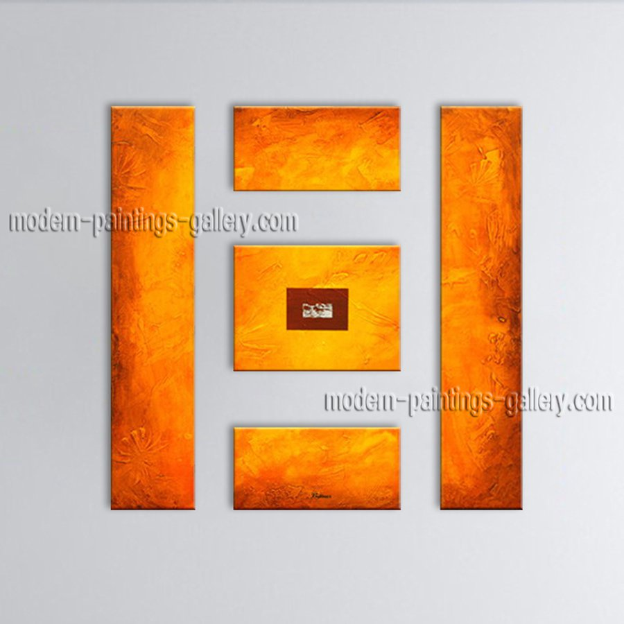 Hand-painted Pentaptych Modern Abstract Painting Wall Art Artist Artworks