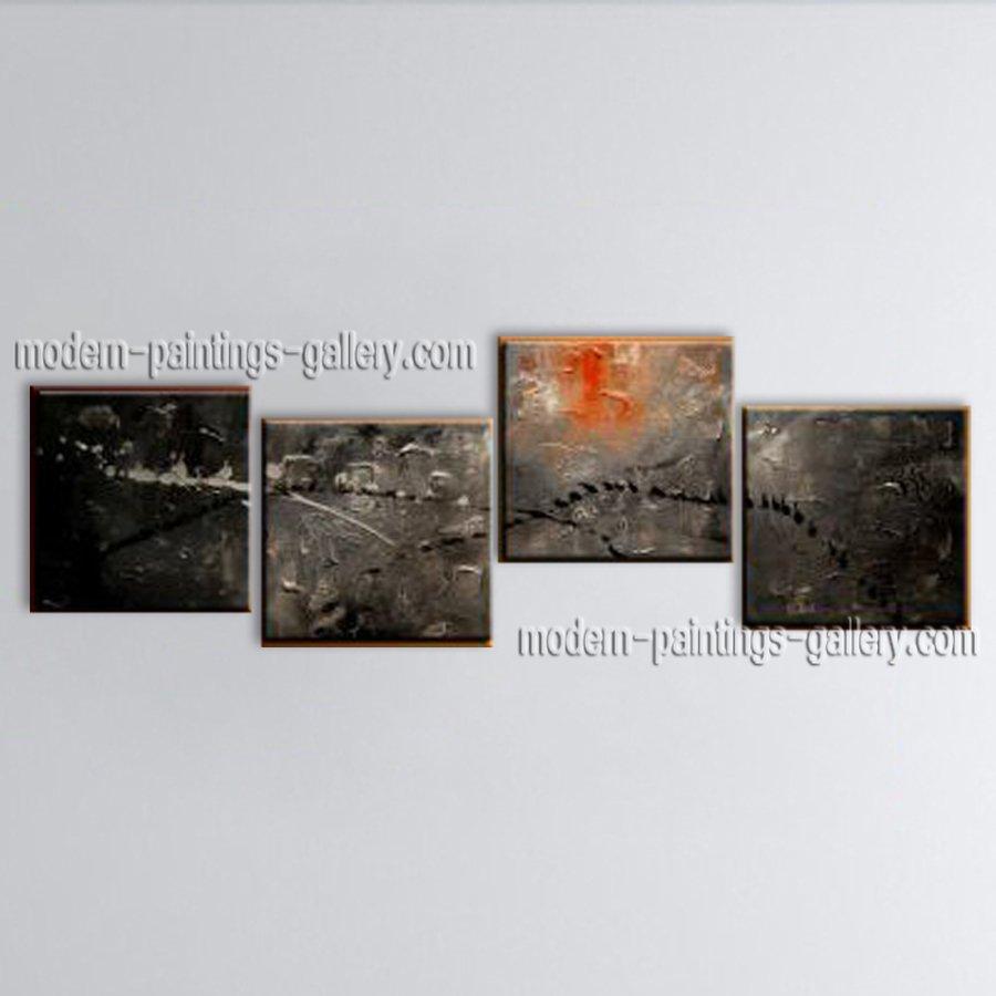 Handmade Artcrafts 4 Pieces Modern Abstract Painting Wall Art Inner Framed