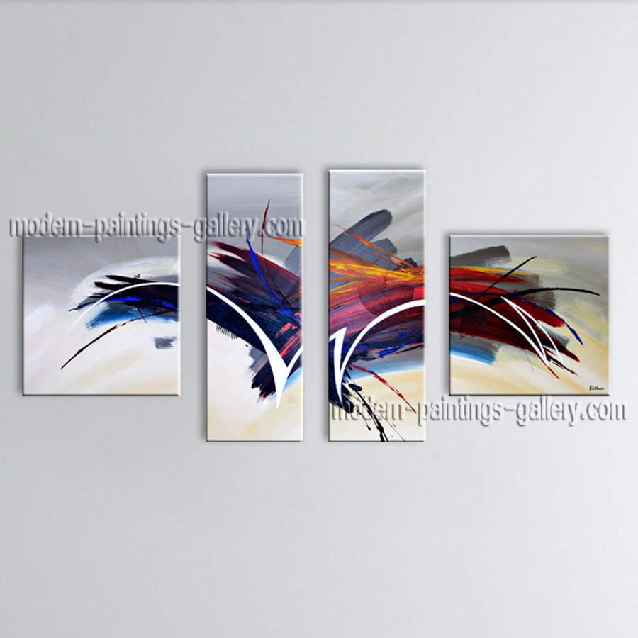 Hand-painted 4 Pieces Modern Abstract Painting Wall Art Gallery Wrapped