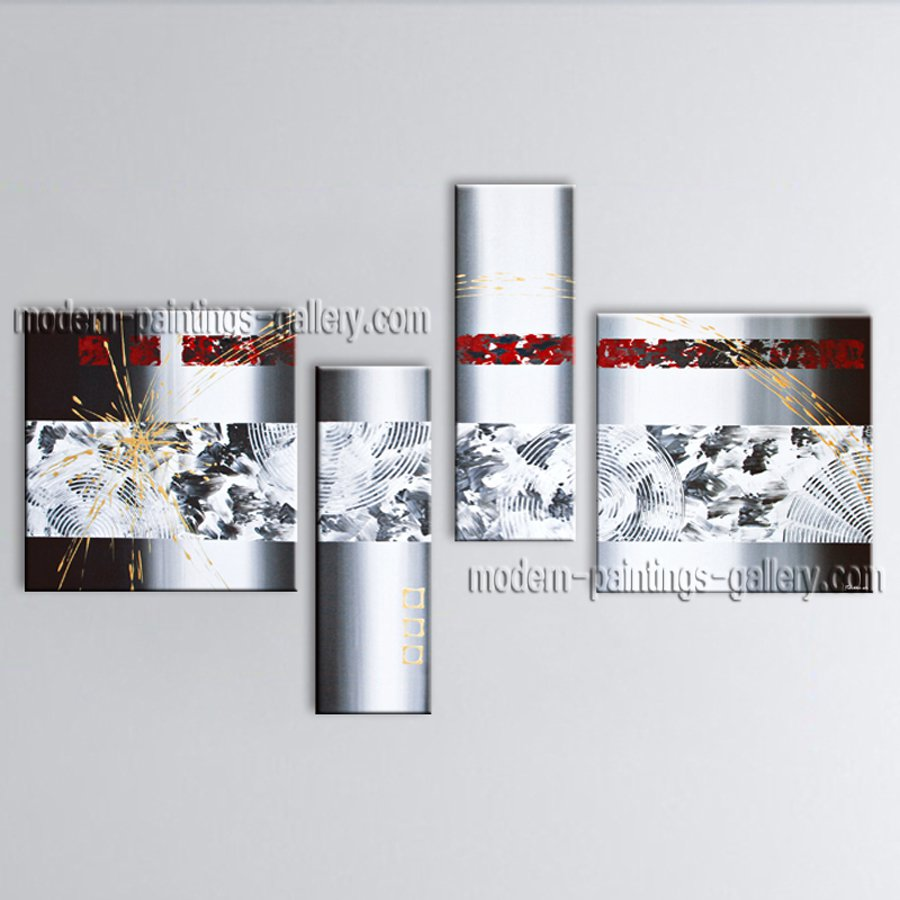 Hand-painted Tetraptych Modern Abstract Painting Wall Art Inner Framed