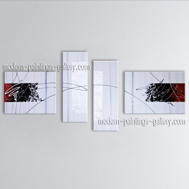 Hand-painted Tetraptych Modern Abstract Painting Wall Art Oil On Canvas