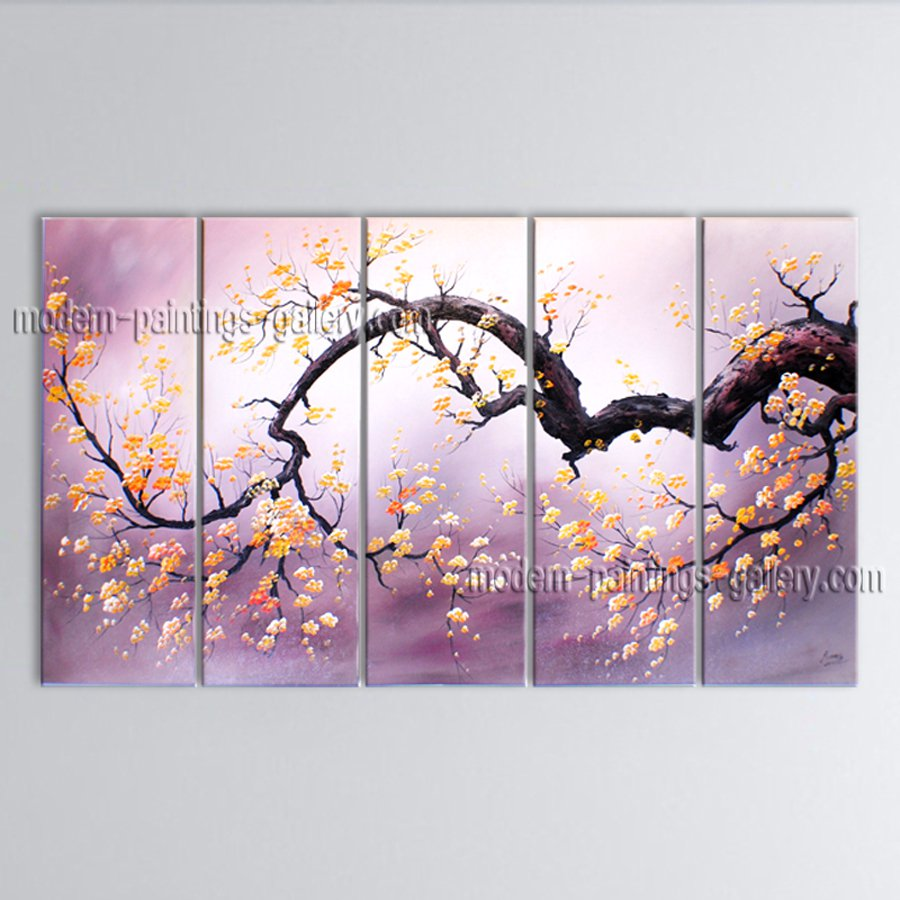 Pentaptych Contemporary Wall Art Floral Plum Blossom Inner Stretched