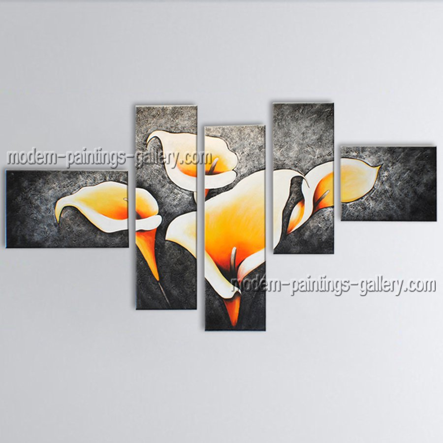 Handmade Large Contemporary Wall Art Floral Painting Lily Flowers Artwork