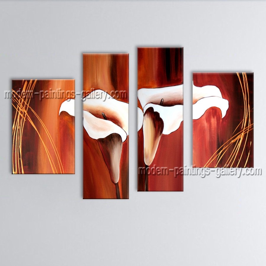 4 Pieces Contemporary Wall Art Floral Painting Lily Flower Oil Canvas