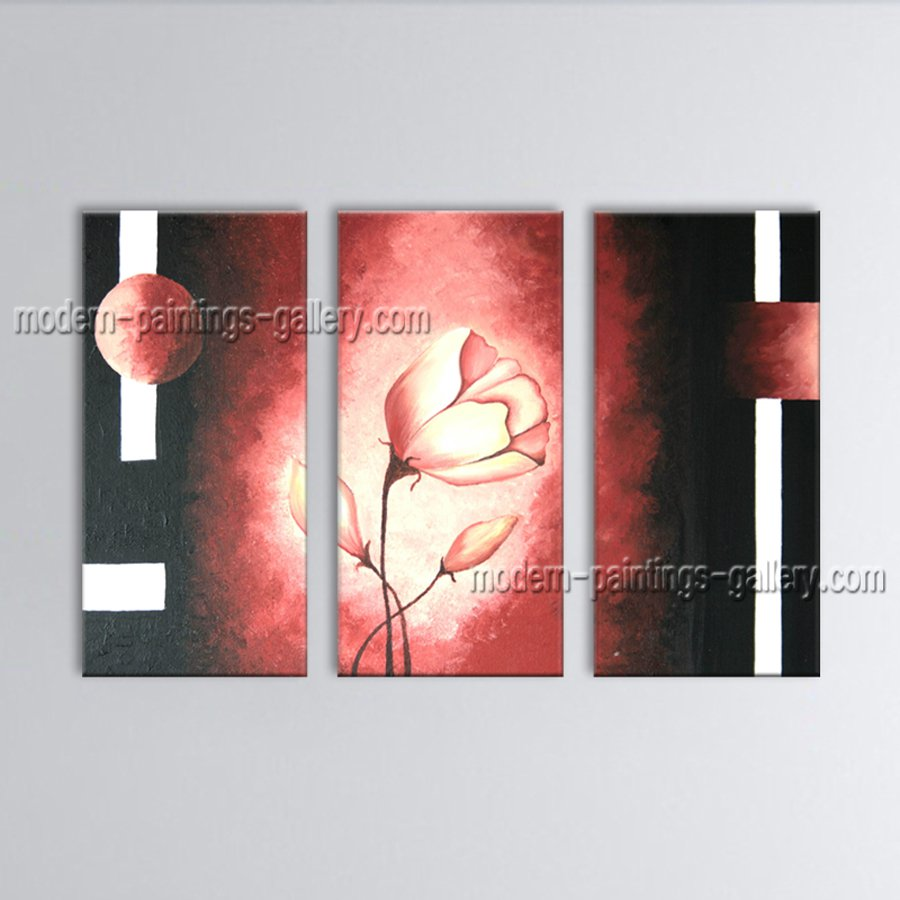 Triptych Contemporary Wall Art Floral Painting Poppy Flower Oil Canvas