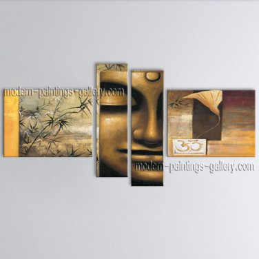 Handmade 4 Pieces Feng Shui Zen Art Contemporary Painting For Office Wall