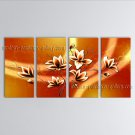 4 Pieces Contemporary Wall Art Floral Painting Tulip Flower Inner Framed