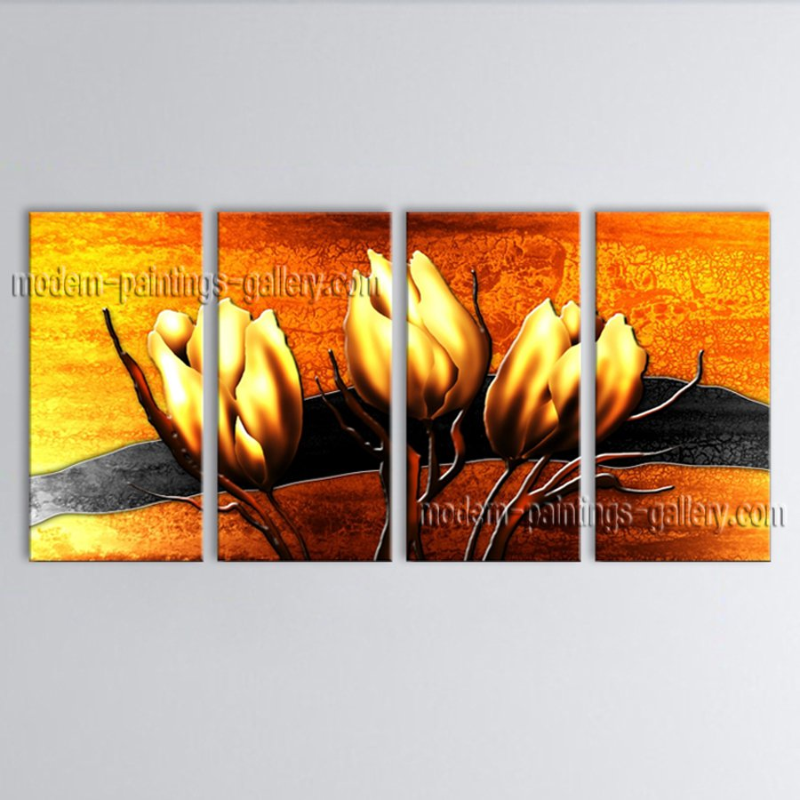 Large Contemporary Wall Art Floral Painting Tulip Decoration Ideas