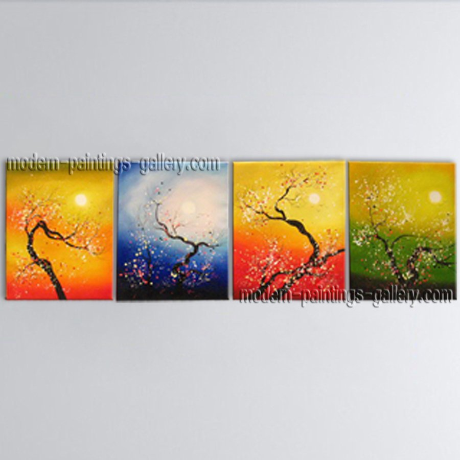 Tetraptych Contemporary Wall Art Floral Painting Plum Blossom Inner Framed