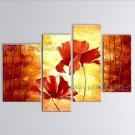 4 Pieces Contemporary Wall Art Floral Painting Poppy Decoration Ideas