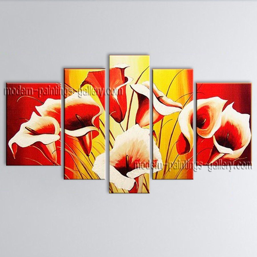 Large Contemporary Wall Art Floral Painting Lily Flower Inner Stretched