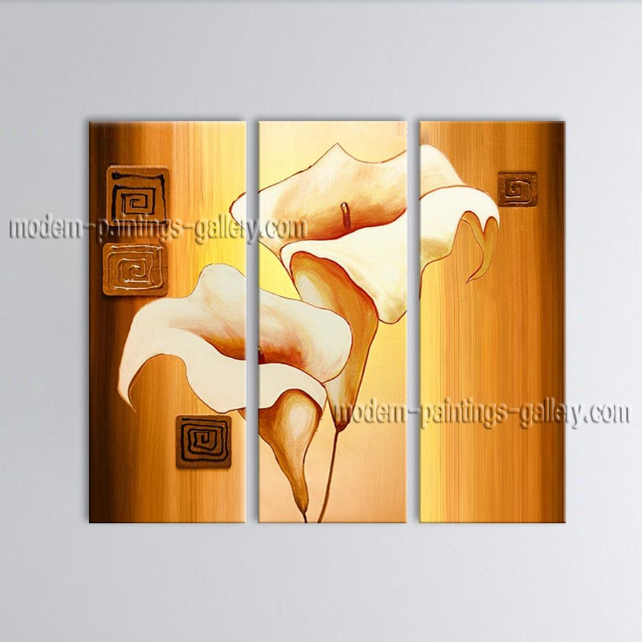Stunning Contemporary Wall Art Floral Painting Lily Decoration Ideas
